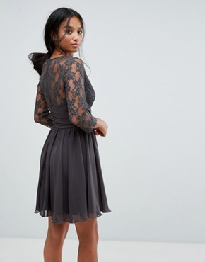 photo Ruched Waist Lace Midi Dress with 3/4 Length Sleeve by Elise Ryan Petite, color Dark Grey - Image 2