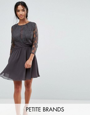 photo Ruched Waist Lace Midi Dress with 3/4 Length Sleeve by Elise Ryan Petite, color Dark Grey - Image 1