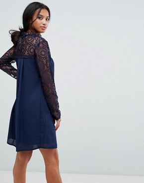 photo High Neck Swing Dress with Lace Upper by Elise Ryan Petite, color Navy - Image 2