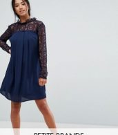 photo High Neck Swing Dress with Lace Upper by Elise Ryan Petite, color Navy - Image 1