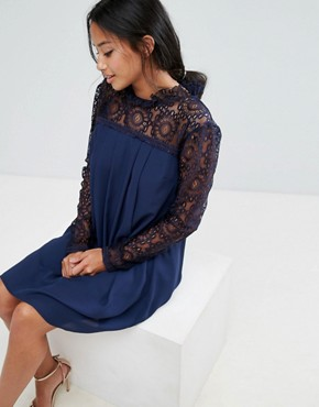 photo High Neck Swing Dress with Lace Upper by Elise Ryan Petite, color Navy - Image 3