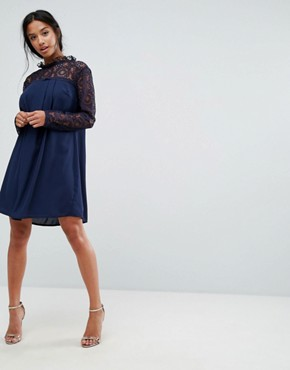 photo High Neck Swing Dress with Lace Upper by Elise Ryan Petite, color Navy - Image 4