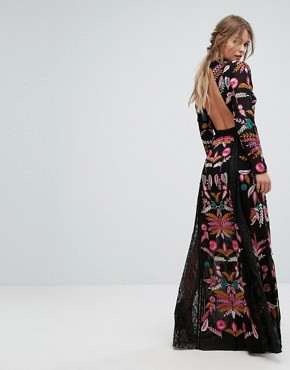 photo Embroidered Maxi Dress with Lace Inserts by Frock and Frill, color Black - Image 2