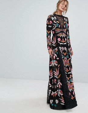 photo Embroidered Maxi Dress with Lace Inserts by Frock and Frill, color Black - Image 1