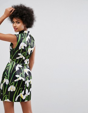 photo Mini Dress with Mandarin Collar in Print by Horrockses, color Multi - Image 2