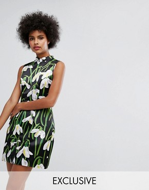 photo Mini Dress with Mandarin Collar in Print by Horrockses, color Multi - Image 1