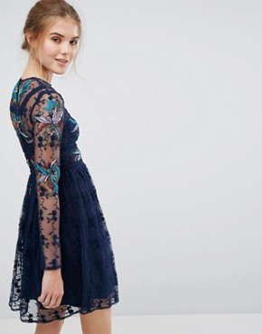 photo Floral Embroidered Skater Mini Dress with Lace Trim by Frock and Frill, color Navy - Image 2