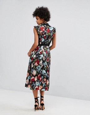 photo Victoriana High Neck Frill Midi Dress in Floral Print by Horrockses, color Multi - Image 2