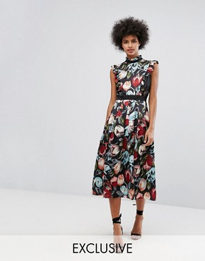 photo Victoriana High Neck Frill Midi Dress in Floral Print by Horrockses, color Multi - Image 1