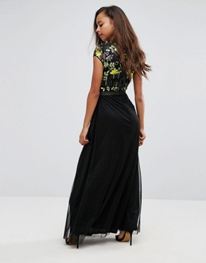 photo Embellished Top Maxi Dress with Mandarin Collar Detail by Frock and Frill Petite, color Black - Image 2