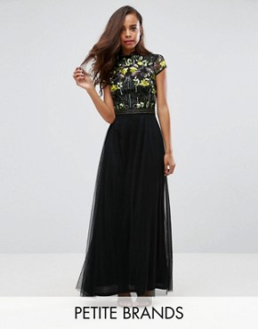 photo Embellished Top Maxi Dress with Mandarin Collar Detail by Frock and Frill Petite, color Black - Image 1