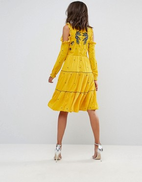 photo Cold Shoulder Velvet Smock Dress with Floral Embroidery by Frock and Frill Tall, color Yellow - Image 2