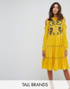 photo Cold Shoulder Velvet Smock Dress with Floral Embroidery by Frock and Frill Tall, color Yellow - Image 1