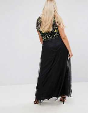 photo Embellished Top Maxi Dress with Mandarin Collar Detail by Frock and Frill Plus, color Black - Image 2