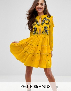 photo Cold Shoulder Velvet Smock Dress with Floral Embroidery by Frock and Frill Petite, color Yellow - Image 1