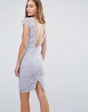 photo Mini Lace Dress with Scalloped Back by Paper Dolls Tall, color Oyster Grey - Image 2