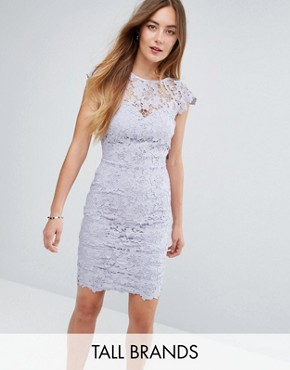 photo Mini Lace Dress with Scalloped Back by Paper Dolls Tall, color Oyster Grey - Image 1