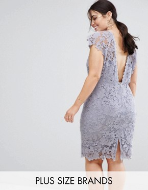 photo Midi Lace Dress with Scalloped Back by Paper Dolls Plus, color Oyster Grey - Image 1