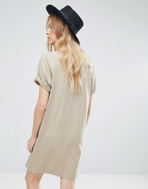 photo Thin Box Logo Smash T-Shirt Dress by Cheap Monday, color Beige - Image 2