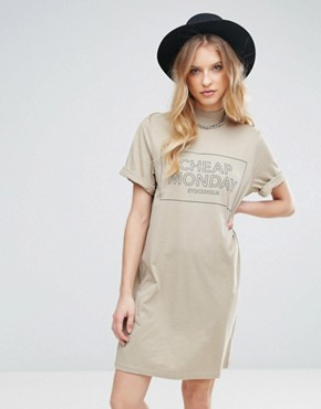photo Thin Box Logo Smash T-Shirt Dress by Cheap Monday, color Beige - Image 1
