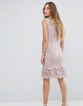 photo High Neck Lace Dress with Pephem by Paper Dolls Tall, color Light Blush - Image 2