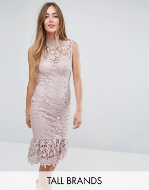 photo High Neck Lace Dress with Pephem by Paper Dolls Tall, color Light Blush - Image 1