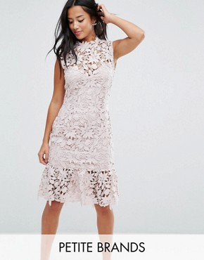 photo High Neck Lace Dress with Pephem by Paper Dolls Petite, color Light Blush - Image 1