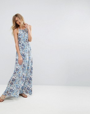photo Floral Print Maxi Dress with Tie Back by Moon River, color Blue Multi - Image 2