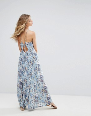 photo Floral Print Maxi Dress with Tie Back by Moon River, color Blue Multi - Image 1
