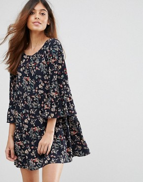 photo Floral Swing Dress by QED London, color Navy - Image 1