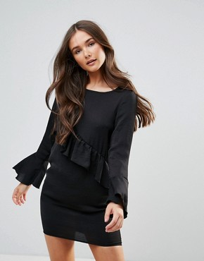 photo Dress with Frill Detail by QED London, color Black - Image 1