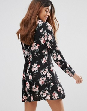 photo Floral Shirt Dress by QED London, color Black - Image 2