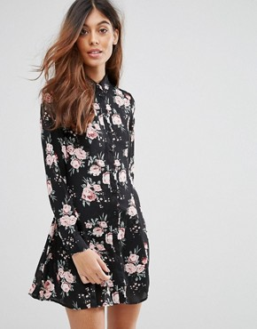 photo Floral Shirt Dress by QED London, color Black - Image 1