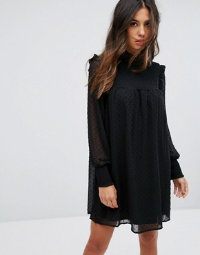 photo High Neck Shift Dress with Sheer Dobby Overlay by QED London, color Black - Image 1