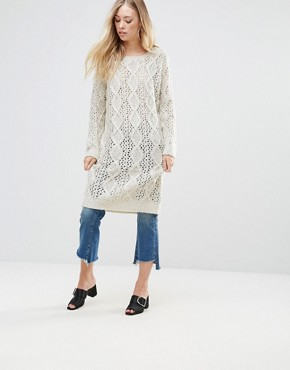 photo Chunky Knit Jumper Dress by QED London, color Beige - Image 1