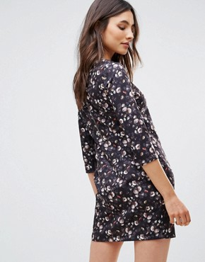photo Floral Long Sleeve Shift Mini Dress by QED London, color Black Multi - Image 2