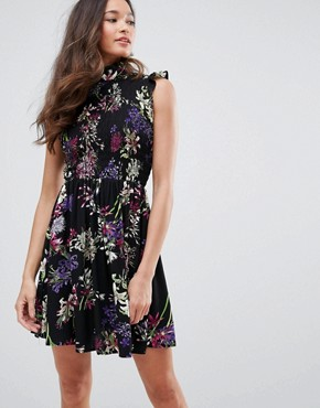 photo High Neck Floral Skater Dress by QED London, color Black - Image 1