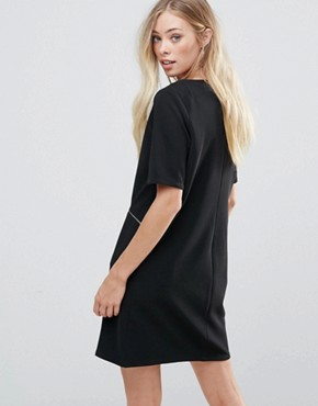 photo Shift Dress with Zip Detail by QED London, color Black - Image 2