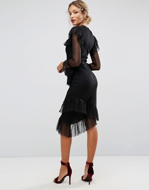 photo Dobby Tiered Ruffle Midi Dress by ASOS, color Black - Image 2