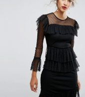 photo Dobby Tiered Ruffle Midi Dress by ASOS, color Black - Image 3
