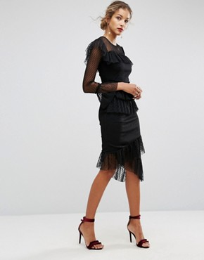 photo Dobby Tiered Ruffle Midi Dress by ASOS, color Black - Image 4