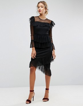 photo Dobby Tiered Ruffle Midi Dress by ASOS, color Black - Image 1