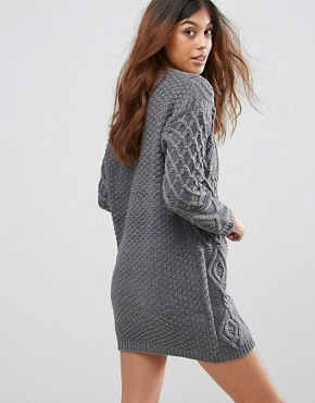 photo Chunky Knit Jumper Dress by QED London, color Charcoal - Image 2