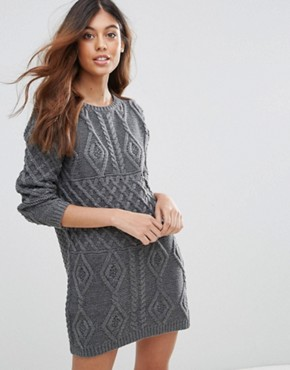 photo Chunky Knit Jumper Dress by QED London, color Charcoal - Image 1