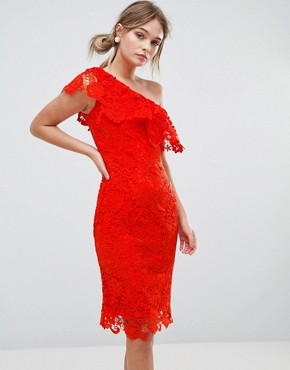 photo One Shoulder Crochet Lace Dress by Paper Dolls, color Tomato Red - Image 1