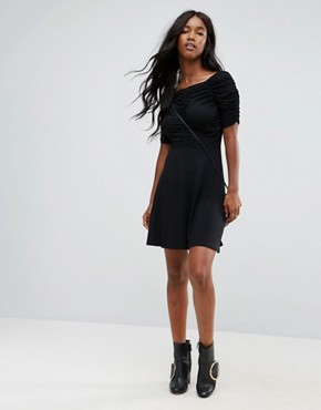 photo Mini Tea Dress with Ruching Detail by ASOS, color Black - Image 4