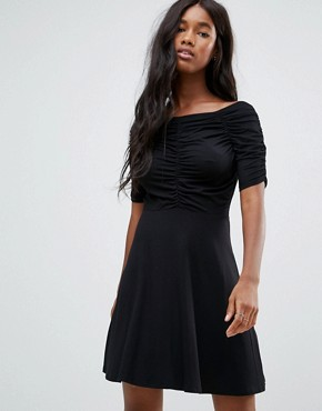 photo Mini Tea Dress with Ruching Detail by ASOS, color Black - Image 1