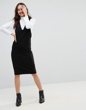photo Midi Column Pinafore Dress with V-Front by ASOS, color Black - Image 4