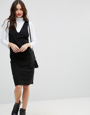 photo Midi Column Pinafore Dress with V-Front by ASOS, color Black - Image 1