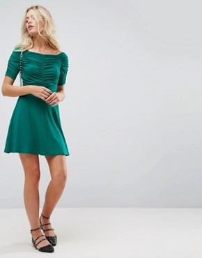 photo Mini Tea Dress with Ruching Detail by ASOS, color Green - Image 4